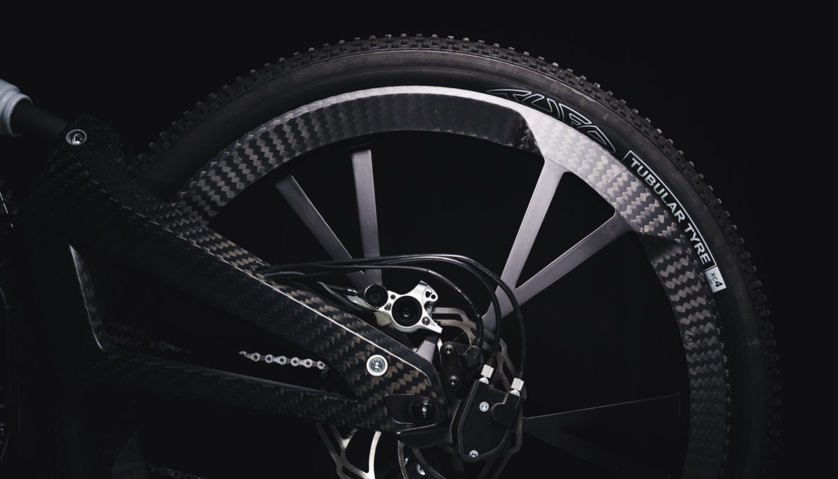 Landscape view of rear carbon fiber rim for the Audi e-bike