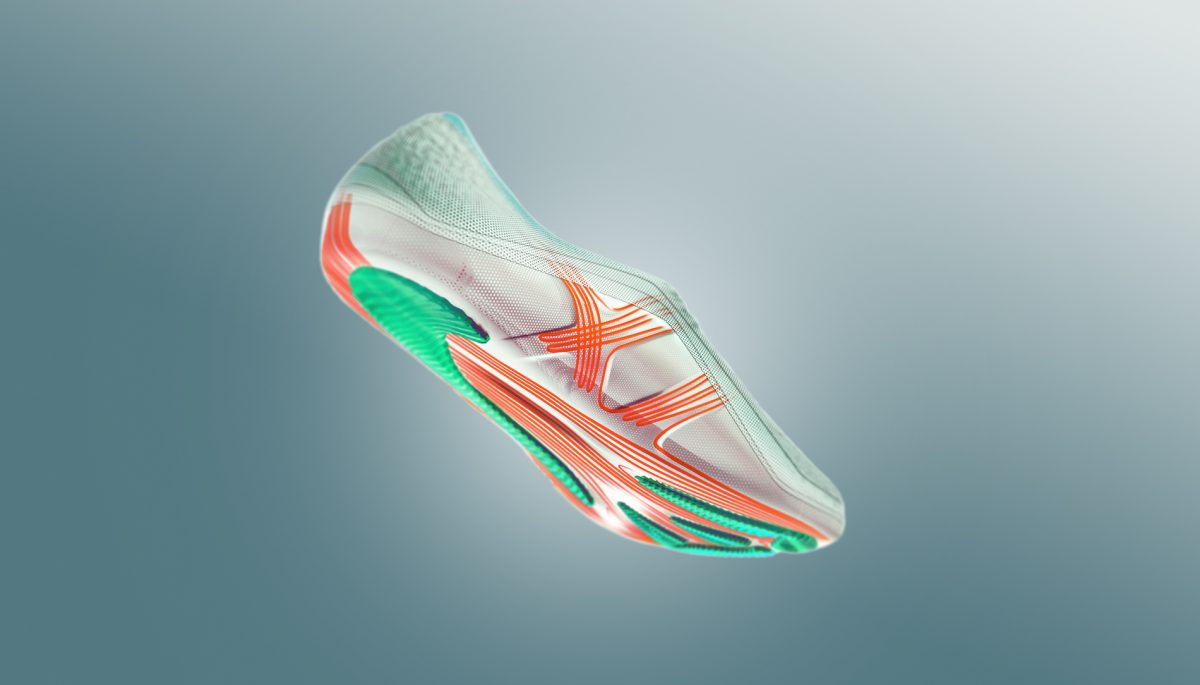 Bottom view of sole design for adidas 66-gram Second Skin running shoe concept