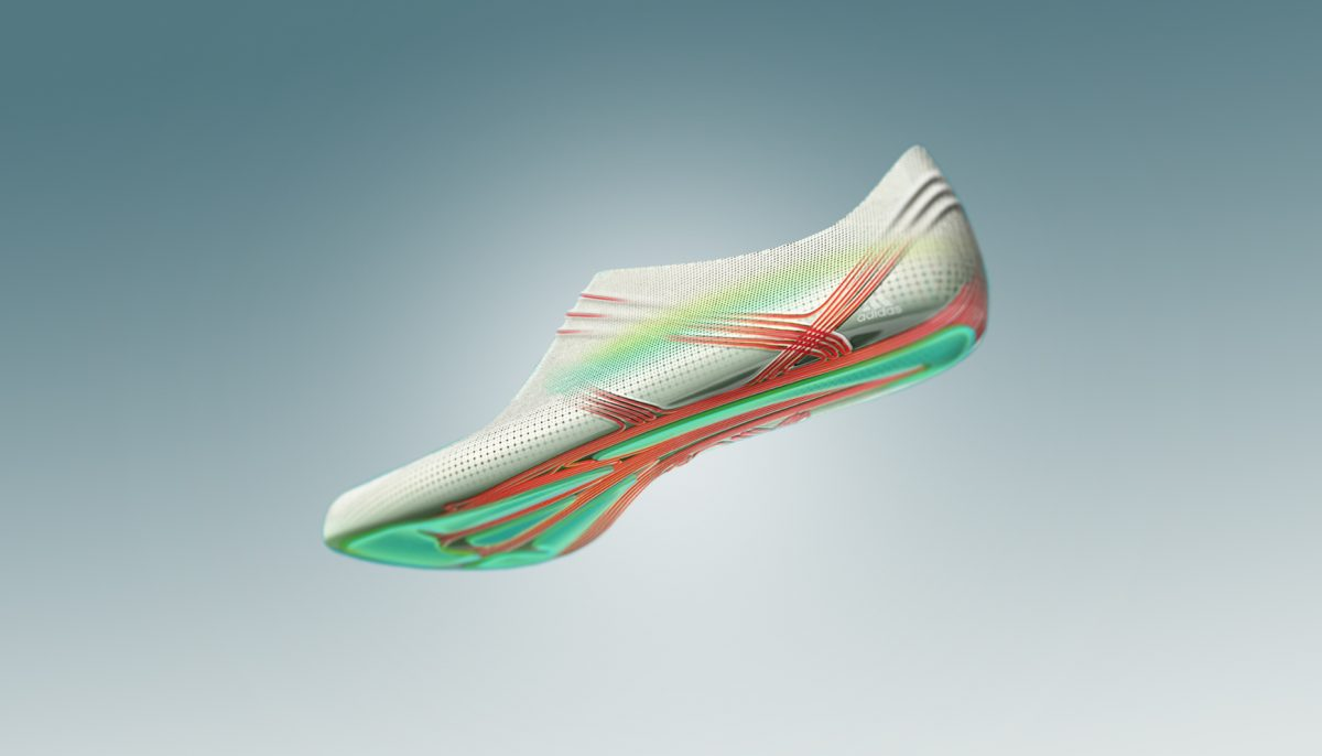Sketch-style render of adidas 66-gram Second Skin running shoe concept