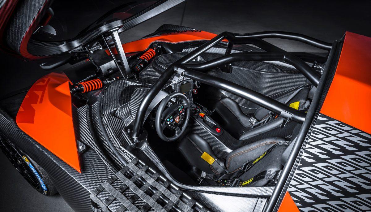 KTM X-BOW GT4 cockpit and lightweight carbon fibre monocoque
