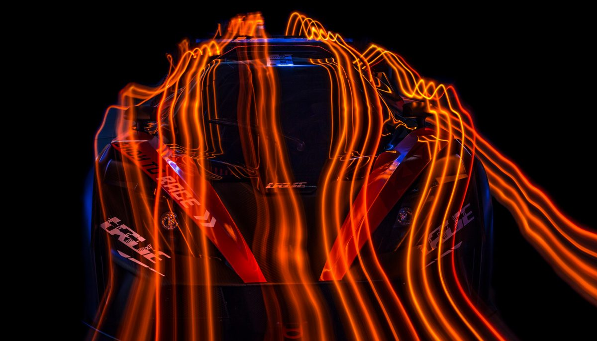 Front view of KTM X-BOW GT4 with light stream effect