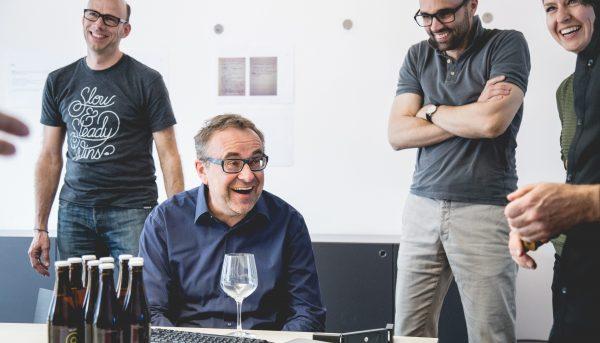 KISKA founder and CEO Gerald Kiska surprised with beer brewed by designers
