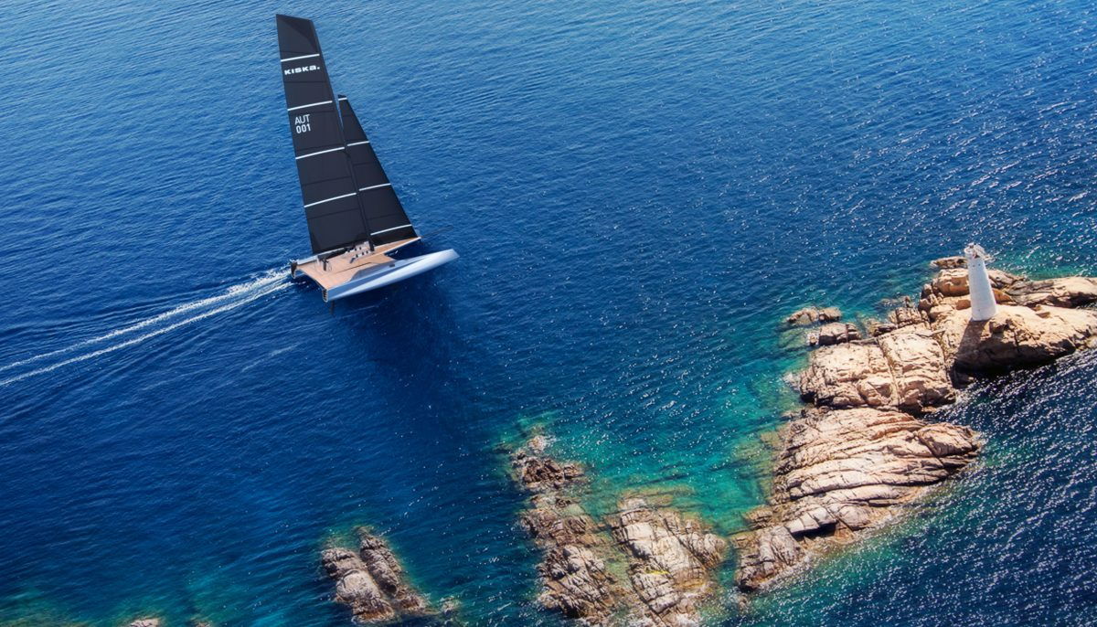 Overhead view of Vision Future Sailing - a KISKA speculative design project - on the water