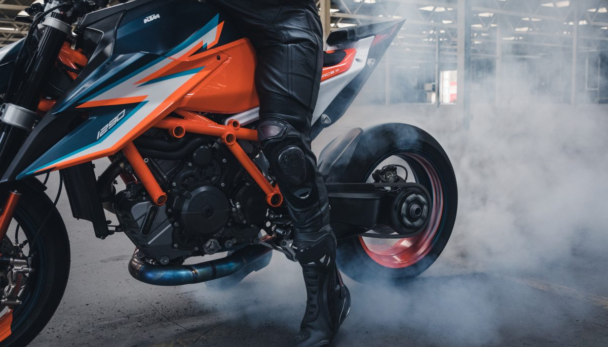KTM 1290 Super Duke R burnout in a warehouse