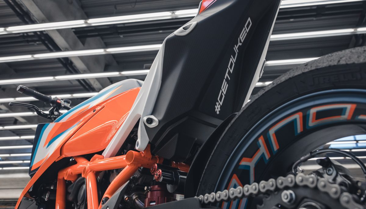 KTM 1290 Super Duke R rear wheel and #getduked graphic