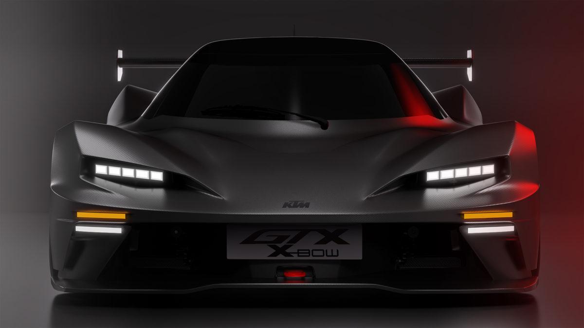 KTM X-Bow front view in dark lighting