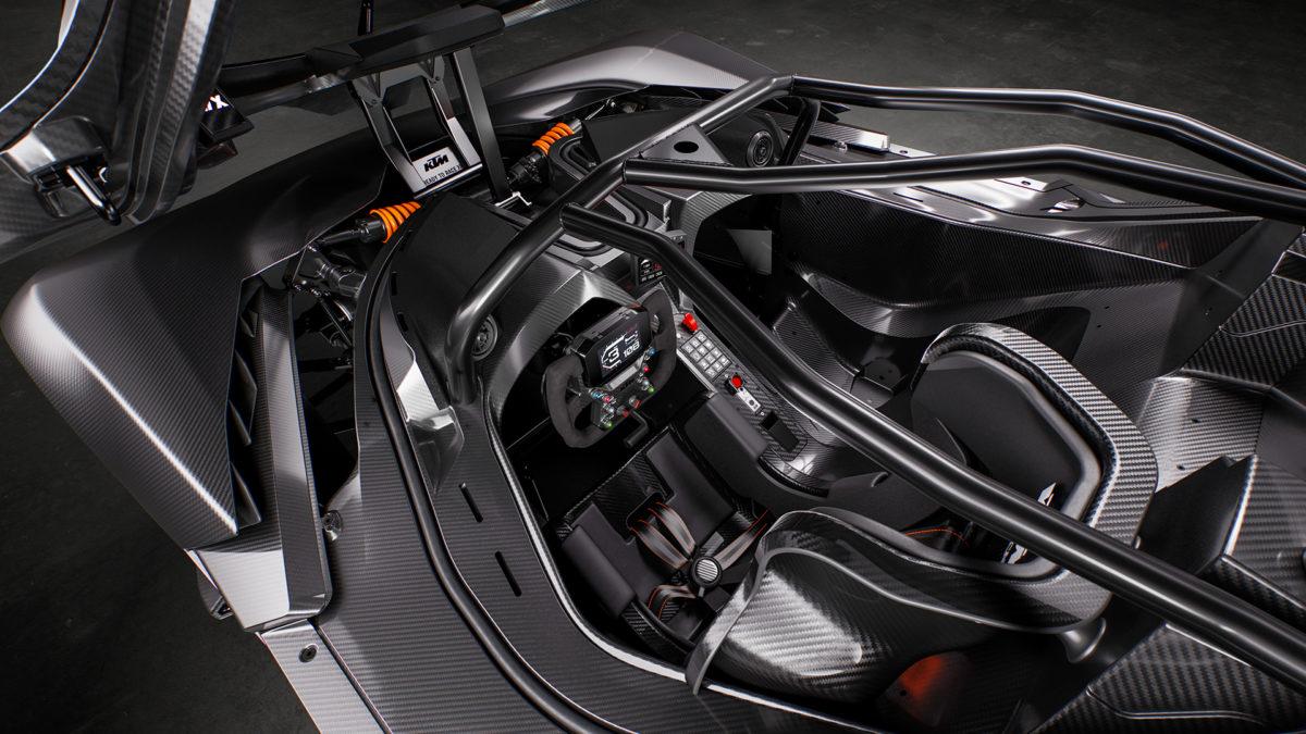 Close up of KTM X-Bow interior