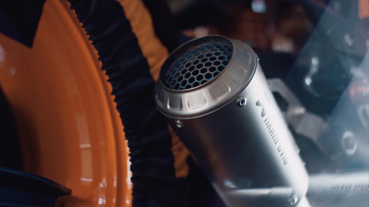 Closeup of KTM 1290 Super Duke R exhaust