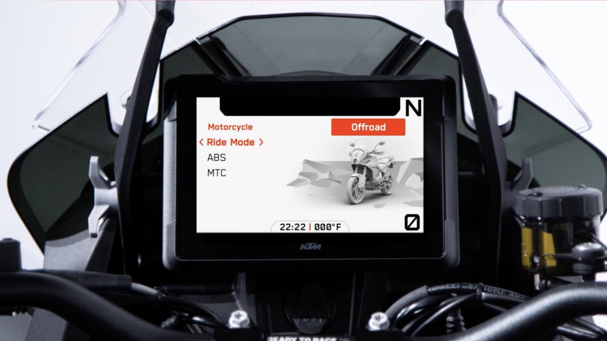 KTM 1290 Super Adventure dashboard ride mode menu