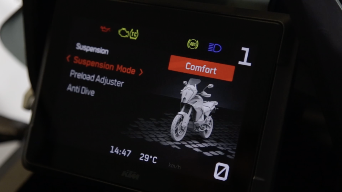 KTM 1290 Super Adventure dashboard suspension menu
