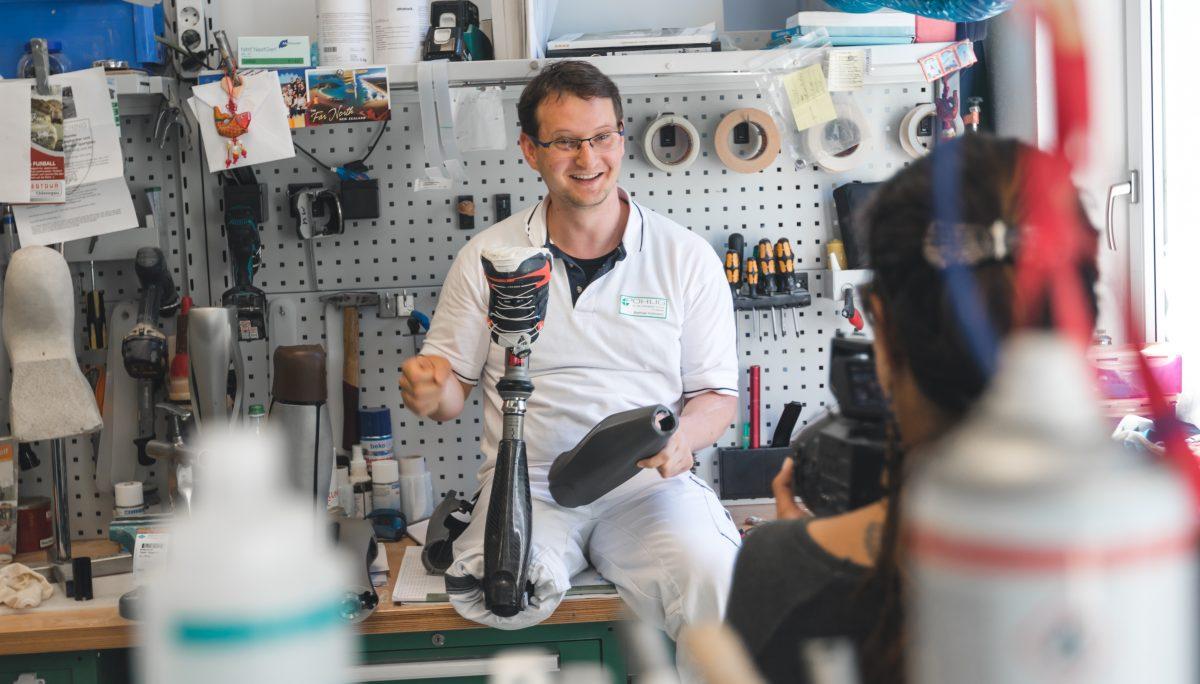 Prosthesis user testing the Ottobock Genium Protector prototype